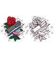 sketch rose pencil eraser vector image
