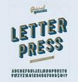 slanted letter press vintage alphabet vector image