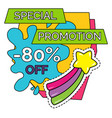 special promotion with discounts sale for holiday vector image vector image