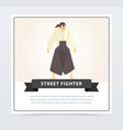 street fighter banner martial arts fighter vector image