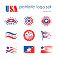 USA patriotic emblem logo icon set flag signs vector image vector image