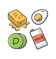 vitamin d color icon butter egg and milk healthy vector image vector image