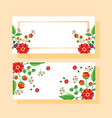 wedding save date flowers banner or label vector image vector image