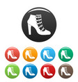 woman shoes icons set collection circle vector image vector image