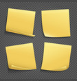 yellow sticky notes isolated on transparent vector image vector image