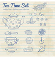 A set of party objects for tea time hand drawn vector image
