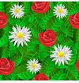 seamless pattern with leaves daisies and roses vector image