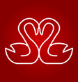 swans in love line icon valentines day vector image