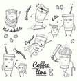 coffee time sketch style characters vector image