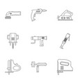 construction tool icon set outline style vector image
