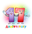 17 anniversary funny digits vector image vector image