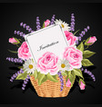 a basket full flowers with a card to write a vector image vector image