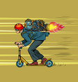 a businessman is riding scooter high speed jet vector image