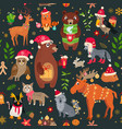 a christmas forest animals pattern winter vector image vector image