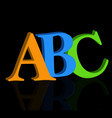 abc letters on black background vector image vector image