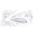 abstract polygonal hand drawing modern train vector image