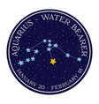 aquarius zodiac constellation in space round icon vector image