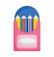 back to school color pencils in box drawing icon vector image vector image