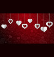 background with hanging paper hearts vector image vector image