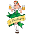 beer girl lines vector image