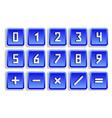 Blue numeric button set vector image