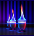burning alcohol shots vector image vector image