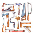 carpentry tools hand drawn set on white vector image