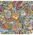 Cartoon doodles Winter season seamless pattern vector image vector image