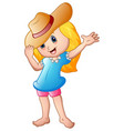 cartoon little girl in summer hat vector image vector image
