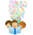 Children reading english book vector image vector image