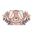 cute animals little dog flowers leaves foliage vector image vector image