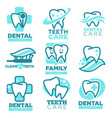 dentistry tooth icons for dental clinic vector image vector image