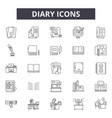 diary line icons signs set outline vector image vector image