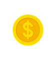 dollar golden coin flat icon isolated on white vector image