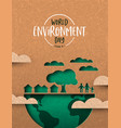 environment day card green cutout eco city vector image vector image