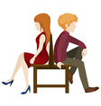 Faceless couple sitting back to back vector image vector image