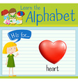 Flashcard letter H is for heart vector image vector image