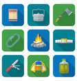 flat style colored various camping icons vector image