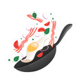 flipping fry egg in a pan vector image