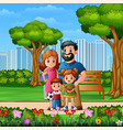 Funny cartoon family in beautiful park