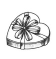 gift box in heart form with ribbon ink vector image