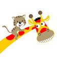 giraffe cartoon with little cat vector image vector image