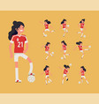 girls football team member poses bundle cheerful vector image