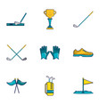 golf competition icons set cartoon style vector image vector image