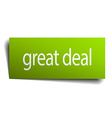great deal green paper sign isolated on white vector image vector image