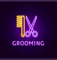 grooming neon label vector image