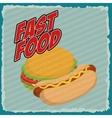 Hamburger and hot dog icon Fast food design vector image