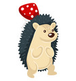 hedgehog with spikes and mushroom woodland animal