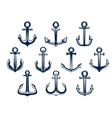 Heraldic set of marine ships anchors vector image
