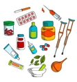 Herbal and conventional medicine drugs sketch vector image